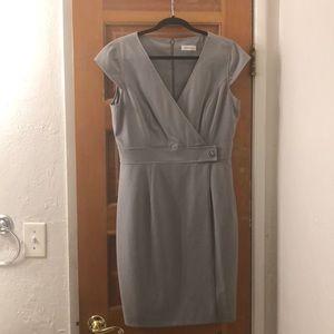 Soft grey Calvin Klein sheath dress.